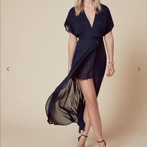 $268 Reformation Wooster Wrap Dress Midnight Blue
